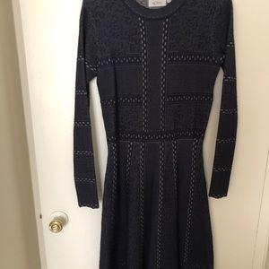 Royal elastic a line dress. Long sleeve